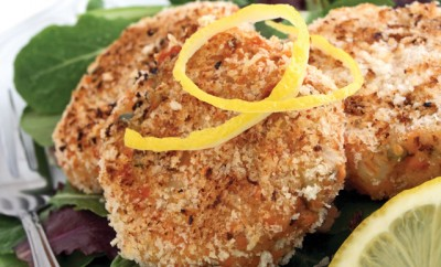 Salmon Cakes with Coleslaw and Lime Dill Yogurt Sauce Recipe
