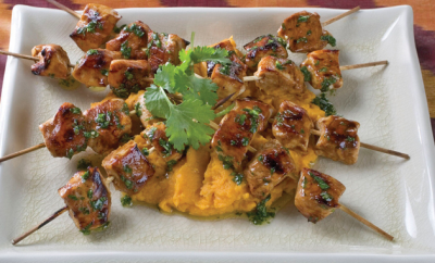 mahogany broiled chicken with smoky lime sweet potatoes and cilantro chimichurri